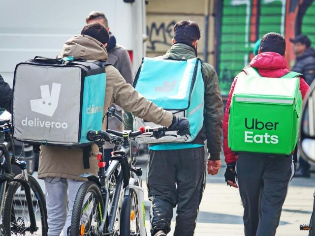 platform fietskoeriers Deliveroo Uber Eats